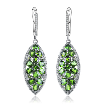 GEM'S BALLET 5.45Ct Natural Chrome Diopside Earrings Pure 925 Sterling Silver Drop Earrings Fine Jewelry For Women Anniversary