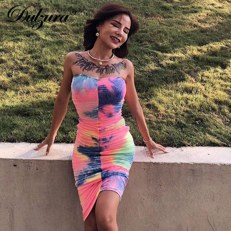 Dulzura 2019 Summer Women Dress Off Shoulder Tie Dye Midi Dress Party Dress Bodycon Elegant Streetwear Festival Clothes Plus