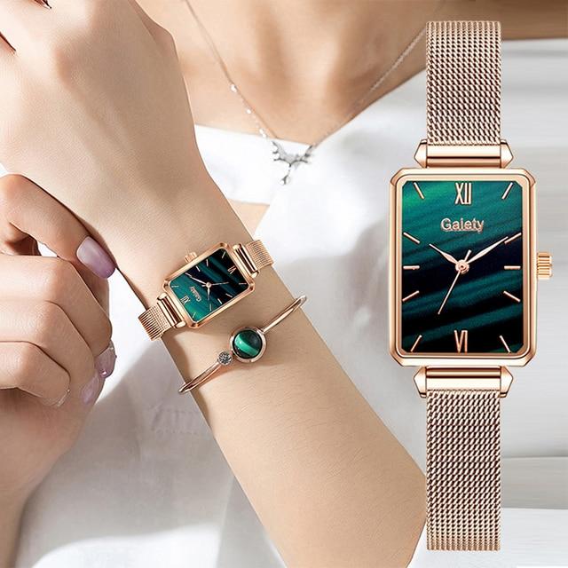 Marca Gaiety-relojes cuadrados de cuarzo para mujer, conjunto de pulsera, esfera verde, sencillo, malla de oro rosa, de lujo 1