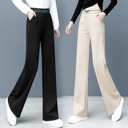 Casual Wide Leg Pants Women High Waist Loose Straight Pants Female Thickening Velvet Flare Trousers Plus Size Hougong Pants