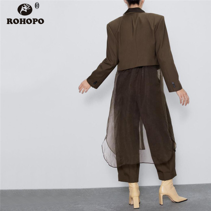 ROHOPO Double Style Collar Two Buttons Ladies Brown Short Blazer Long Sleeve Lapel Collar Autumn Slim Solid Outwear #6211