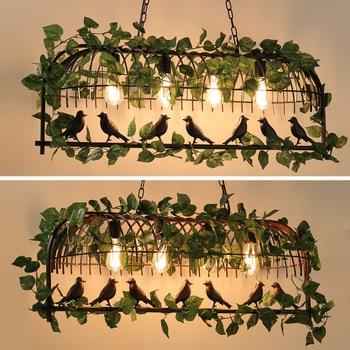 American wrought iron industrial wind plant bird Pendant Lights E27 villa garden aisle decorative Pendant Lamp WF1018509
