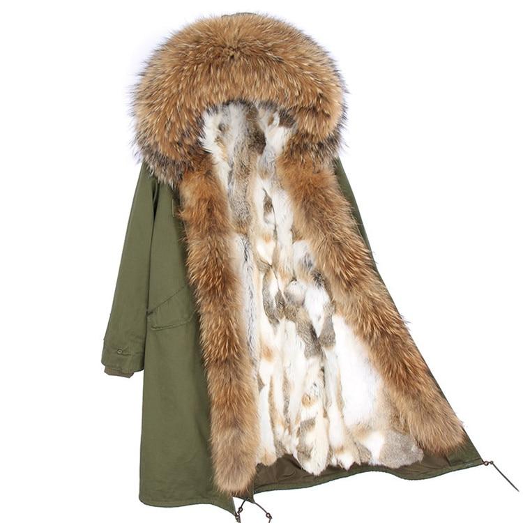 Moda mujer real conejo piel forro invierno chaqueta abrigo escorpión piel cuello desmontable con capucha larga ropa de diseñador DHL 5 7 - 2