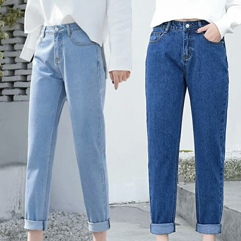Newly Women Fashion Trousers High Waist Jeans Straight Loose Casual Long Pants FIF66
