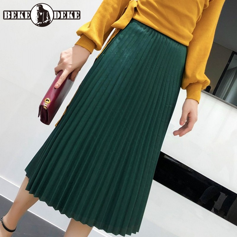Women 2020 Elegant Fashion Mid Calf Genuine Leather Long Pleated Skirt Ladies Streetwear Vintage Sheepskin Jupe Faldas Mujer image
