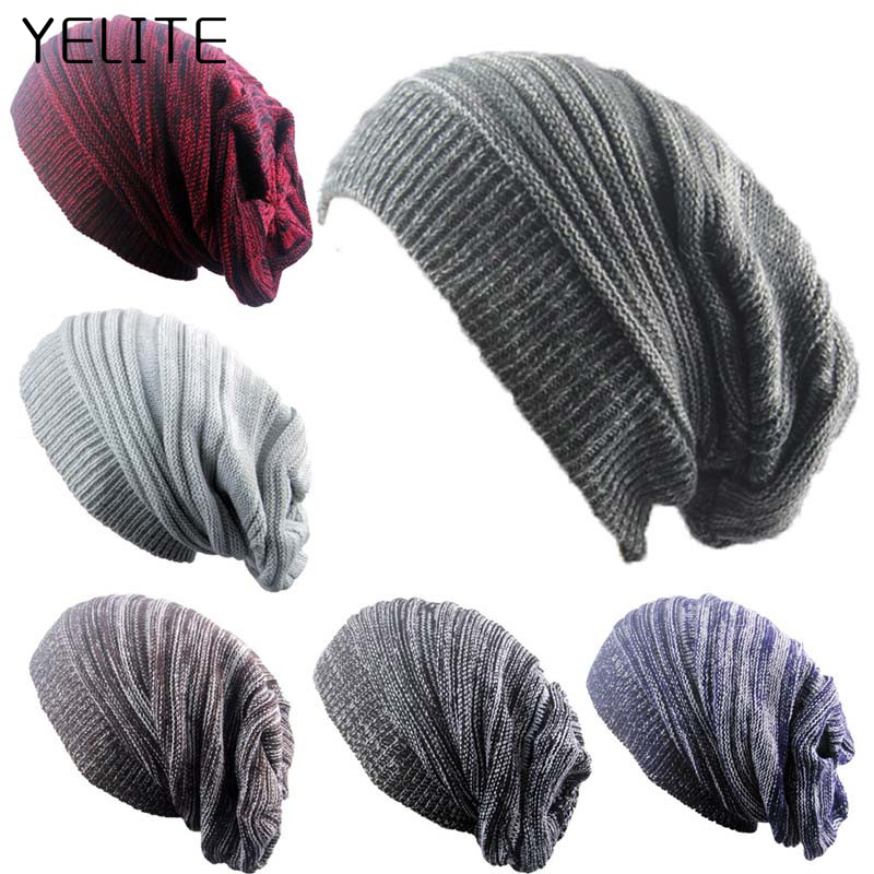 YELITE Fashion Men Women   Beanie   Hats Knit Ski Cap Winter Warm Loose Wool Hat Female Male   Skullies   Elastic Baggy Crochet Caps
