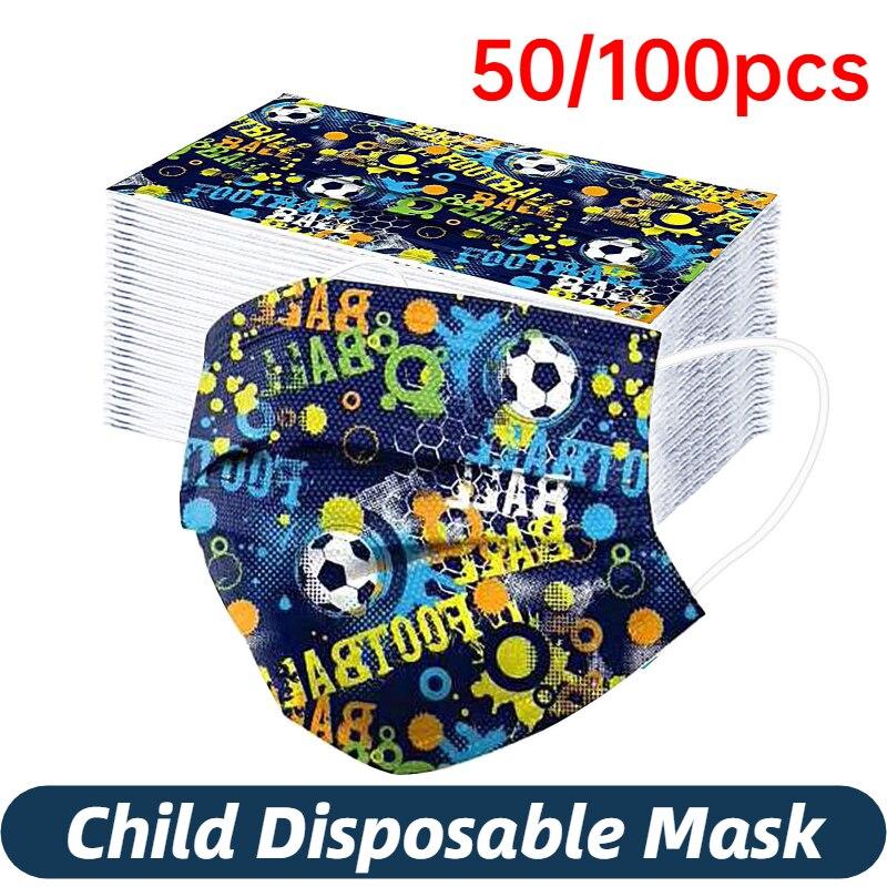 Маске детская маска одноразовая маска для лица, высокое качество, футбол, рождественские детские пижамы с нетканых материалов 50/100 шт маска ...