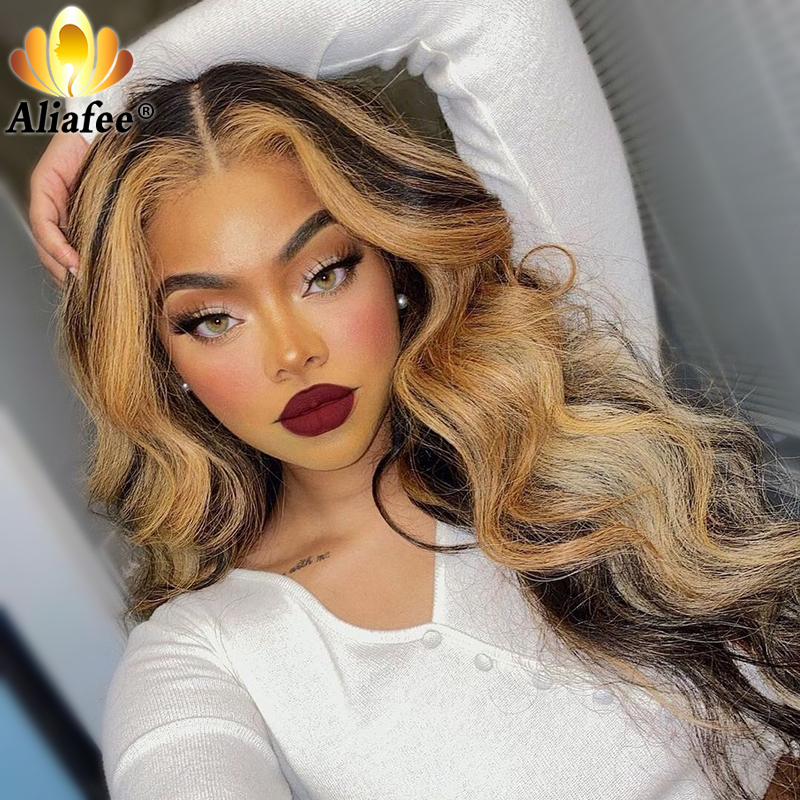 Transparent Honey Blonde Colored Body Wave Wigs Pre Plucked 13x4 Lace Front Human Hair Wigs Remy Frontal Wig For Black Women