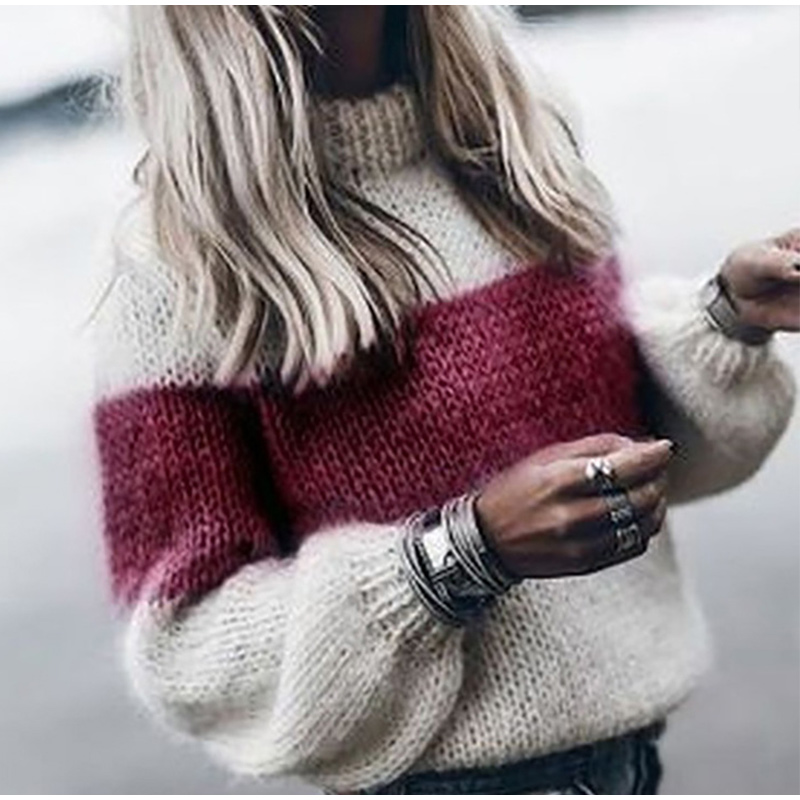 Autumn Winter Women's Loose Knitted Sweater Long Sleeve O-Neck PatchWork Pullover Sweaters For Female 19 Fashion Warm Clothes 3