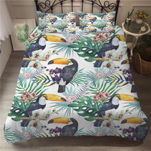 MEI Dream Tufted Puffin Duvet Cover Set Cotton Bedding Set Plant 3d Printed Bed Linen puffin peter