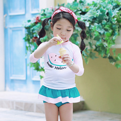 E New Style GIRL'S Swimsuit GIRL'S Split Skirt-Tour Bathing Suit Pink Watermelon CHILDREN'S South Korea Swimwear
