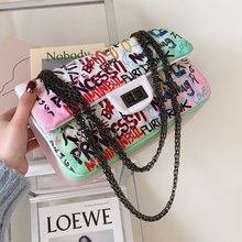 New 2021 Women's Crossbody Bags Graffiti Western Style Chains Shoulder Bags Soft Totes Bag Large Capacity Women Messenger Bags