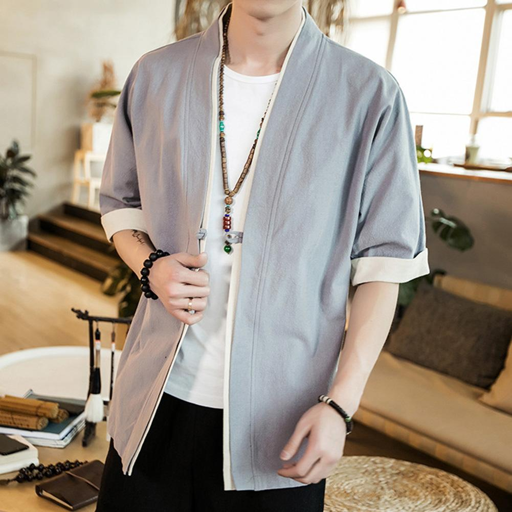 Plus Size Fashion Men Color Block Short Sleeve Button Loose Kimono Blouse Coat Clothing