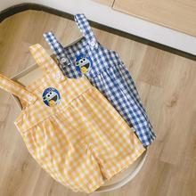 2021 Summer Kids Boys Girls Jumpsuit Toddler Newborn Overall Infant Boys Plaid Pants Muslin Children Jumpsuits Child Outfits