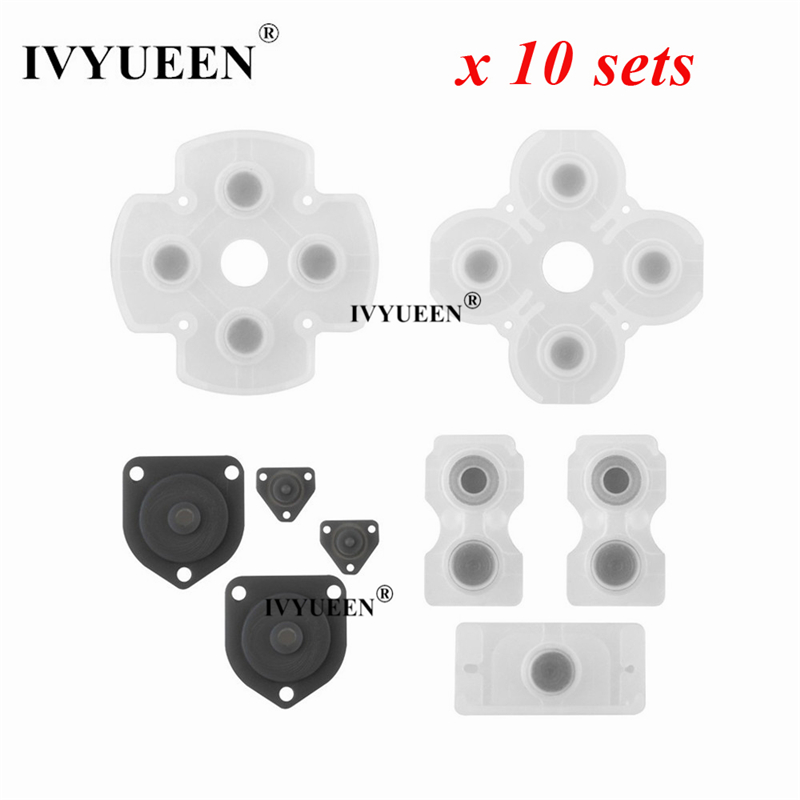 IVYUEEN 10 Sets Rubber Silicone Conductive Adhesive Button Pad Keypads For Sony PlayStation Dualshock 4 PS4 Controller Gamepad