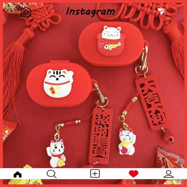 חמוד מזל חתול הסיליקון כיסוי עבור Xiaomi Redmi AirDots 3 מקרה עבור AirDots3 TWS אלחוטי Bluetooth אוזניות אביזרי רך פגז