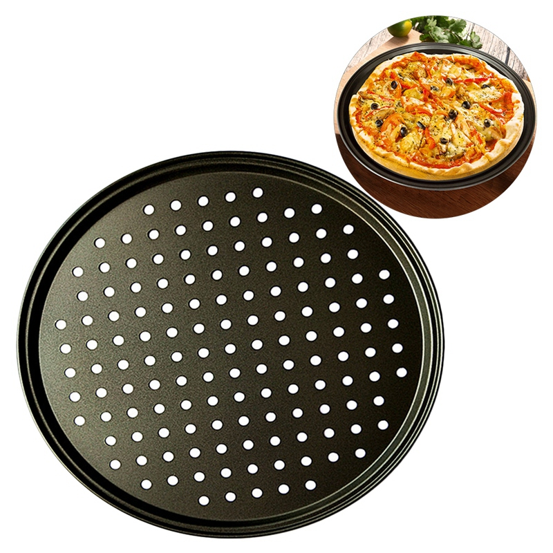 2Pcs Baking Utensil 12 Inch User Friendly Pizza Baking Pan Non Stick Cooking Dishes|Cake Molds| |  - title=