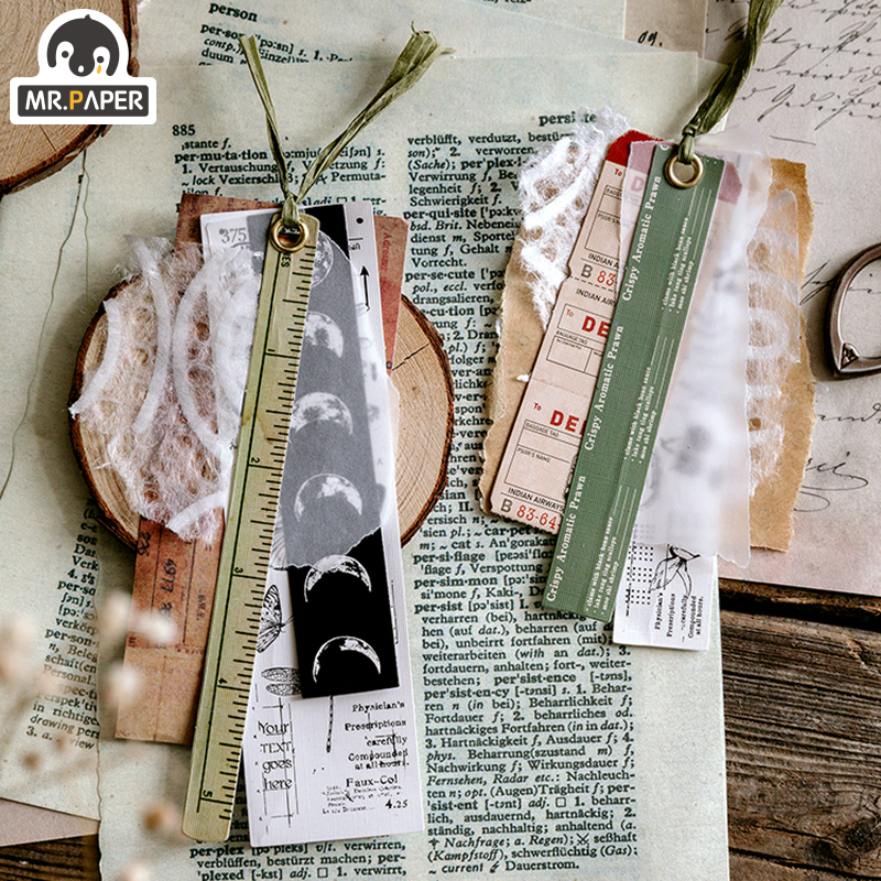 Mr.paper 30Pcs/pack 8 Designs Old Time Scenery Antique Ticket Artistic Stickers Bullet Journal Deco Stationery Children Stickers 2