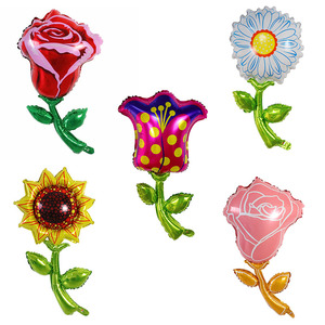 1pc Sunflower Rose Flower Foil Balloons Valentine's Day Mariage Wedding Party Decoration Kids Inflatable Toy Air Globos Supplies