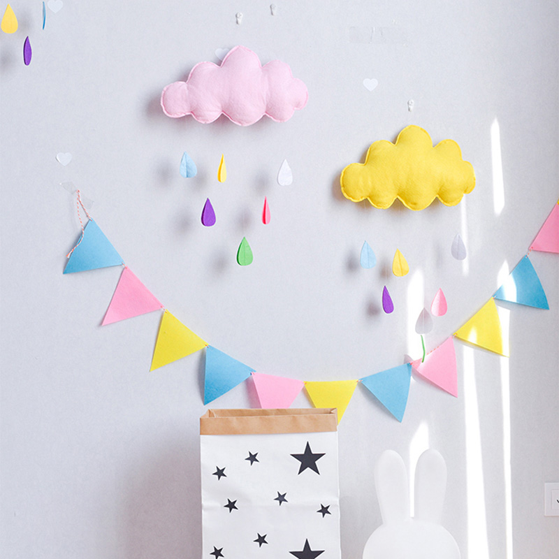 DIY INS Nordic Felt Cloud Garlands String Baby Kids Room Decoration Wall Hanging Ornaments Nursery Decor Party Flag Photo Prop