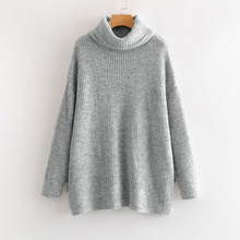 Oversize Turtleneck Knitted Women's Sweater Pullovers Long Batwing Sleeve Winter