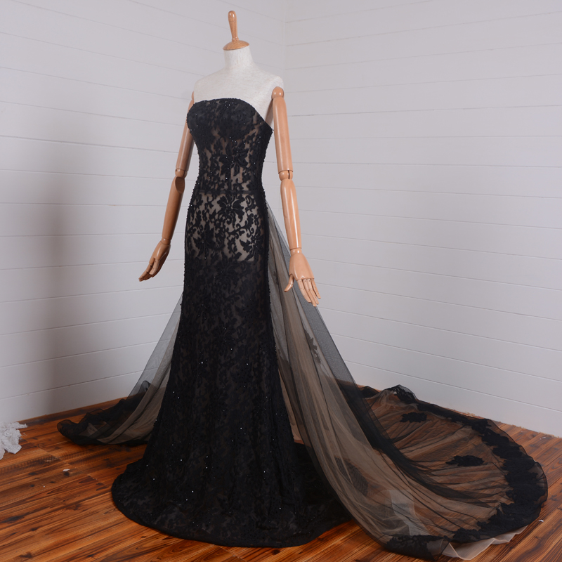 Real Photos Black Lace Long Prom New Design Beaded 2018 Hot Sexy Evening Strapless Removable Train Mother Of The Bride Dresses