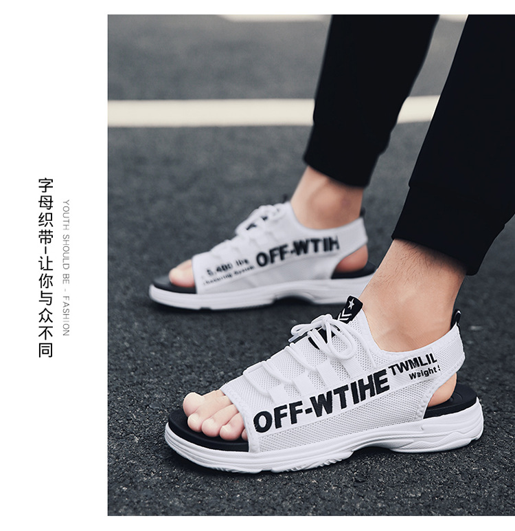 Hot Selling INS Super Fire Shoe Men's Hollow Out Cool Shoes Breathable Mesh Ow Joint Dad Shoes Thick Bottomed Extra High Slipper