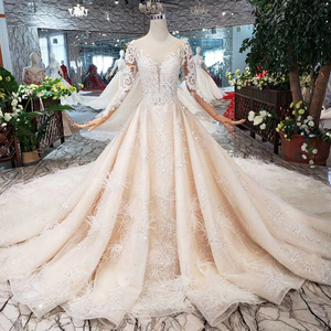 Image 1 - BGW HT43022 Royal Wedding Dress With Feather Handmade European And American Style Tulle Sleeve Wedding Gown 2020 Fashion Design