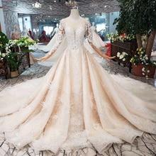 BGW HT43022 vestido de boda real con pluma hecho a mano estilo europeo y americano tul manga vestido de novia 2020 diseño de moda