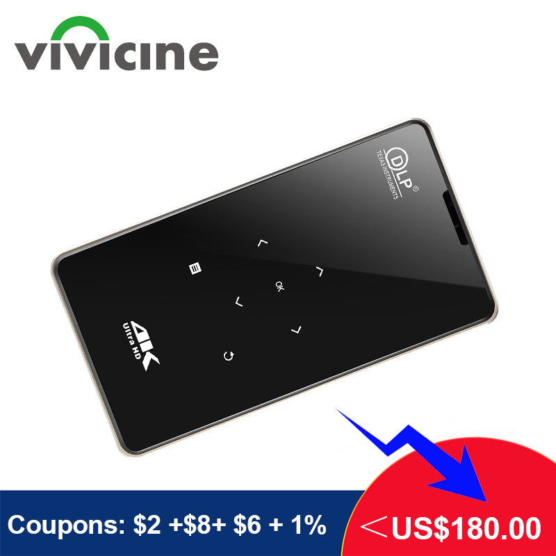 Vivicine Support 4K Mini Projector,4000mAh battery,Support Miracast Airplay Handheld Mobile Projector Video Beamer    -