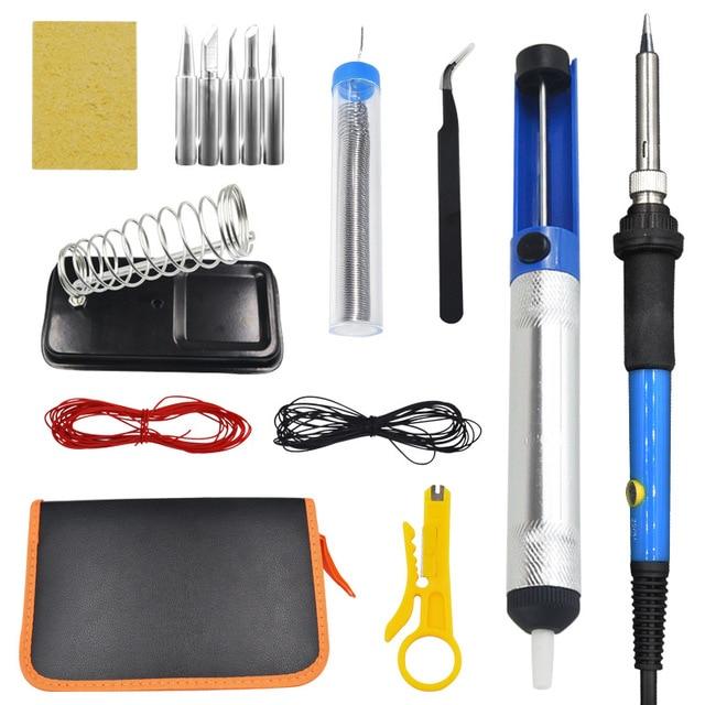 Adjustable Temperature LCD Soldering iron kit 110V 220V 80W Solder welding tools soldering tips wire Desoldering Pump Heater