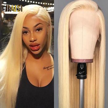 BAISI 613 blondynka koronki przodu peruki z ludzkich włosów malezyjski proste włosy ludzkie peruki z wstępnie oskubane Hairline dla czarnych kobiet tanie i dobre opinie Średni Remy włosy Ludzki włos Ręka wiążący Ciemniejszy kolor tylko Swiss koronki 1 sztuka tylko Przezroczysty Peruka
