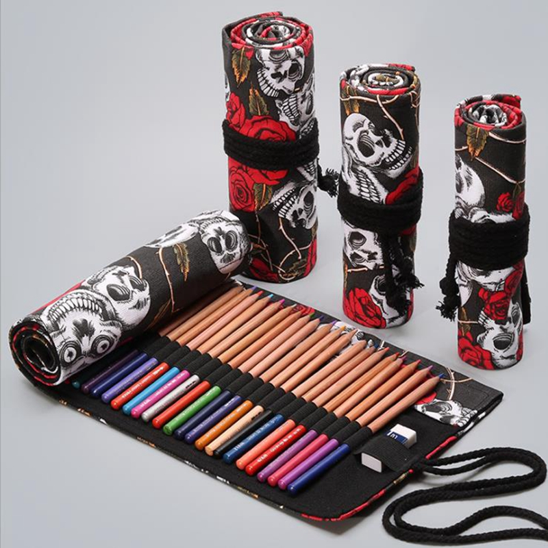 12/24/36 Holes Cute School Pencil Case Canvas Roll Up Pencil Case For Girls Boys Pouch Pecncil Box Brush Pen Big Pencil Bag Tool
