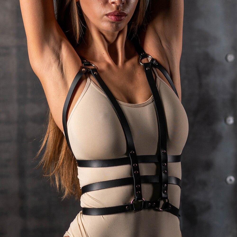 Креативные кожаные ремни для женщин, Регулируемая Талия, подвязки, грудь, жгут, эротический фетиш, БДСМ, подтяжки, удерживающий пояс