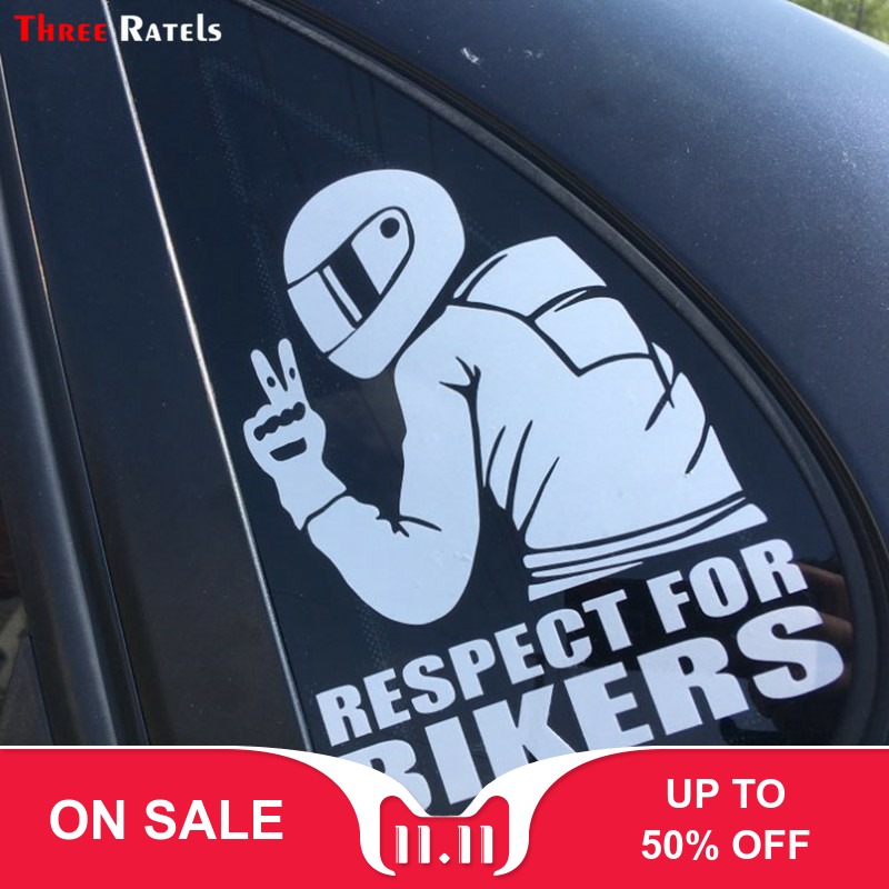 Three Ratels TZ-1950# 14x19cm respect for bikers car sticker funny stickers styling removable decal