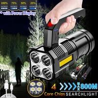 LED Tragbare Taschenlampe Quad-Core Power Licht Lade Schuss Lampe Sonde Lange Ausdauer für Camping und Tourismus Outdoor Laternen