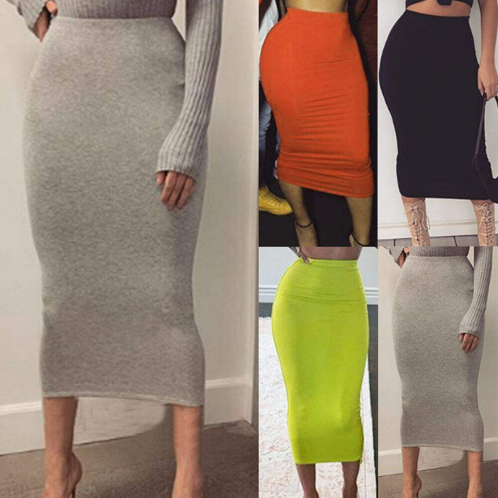 Office Lady Elegant Midi Pencil Skirt Stretchy Bodycon Tube Women Ladies High Waist Solid Color Midi Skirt Plain Plus Size