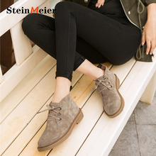 Lady Shoes Ankle-Boots Suede Women Flat-Heel High-Top Winter Lace-Up Derby Autumn Genuine