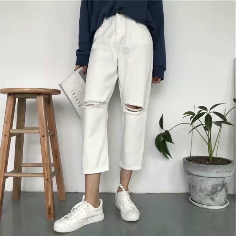 Autumn And Winter Large Size Capri With Holes Jeans Women's Loose Pants Korean-style Slimming Fat Mm High-waisted Loose Straight