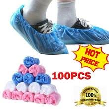 Couvre-chaussures jetables en plastique, Anti gouttelette, poussière, imperméable, pochette
