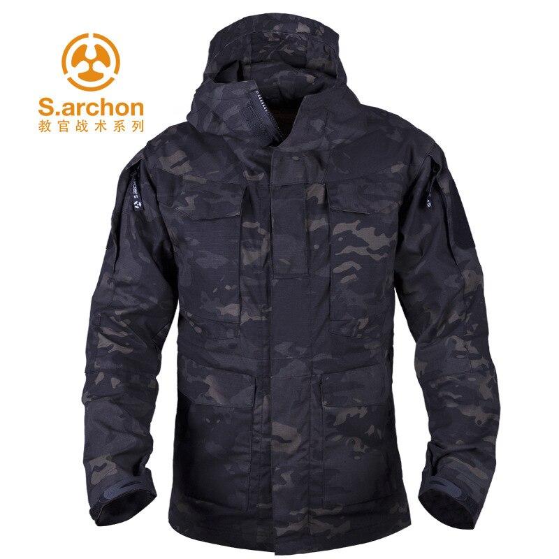 S.archon Men Outdoor Tactical   Trench   Coat New Style Raincoat Jacket M65CTU Spy Shadow   Trench   Coat