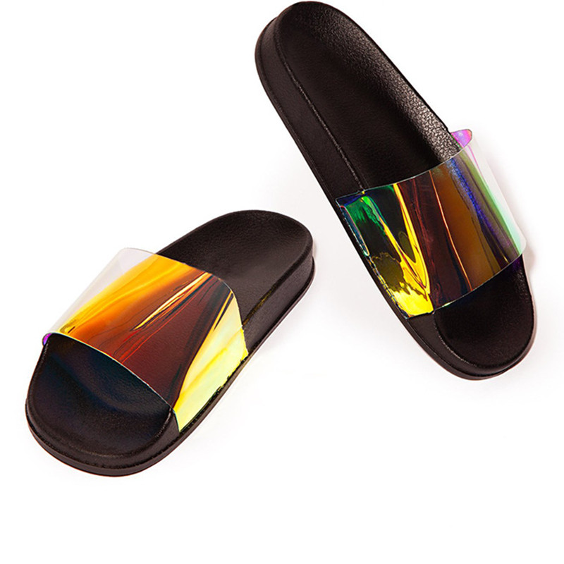 Summer Woman Slippers Candy Color Jelly Shoe Woman Bling Transparent Slides Sequined Flat Flip Flops Women Beach outdoor Shoes 2