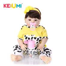 купить Collectible 23 inch Reborn Baby Dolls Full Vinyl Body So Truly Like Girl Alive Doll In Brazil Toddler Toy Birthday Gifts дешево