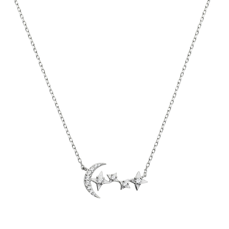 New Minimalist Star Moon Chokers Necklace 925 Sterling Silver Clavicle Chain Cubic Zircon Necklace For Women Party Jewelry