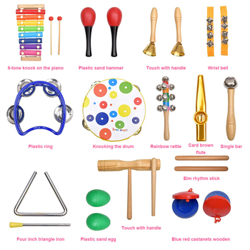 19PCS Percussion Musical Instruments Set Rhythm & Music Toddler Educational Toys Band Set Wooden Rattles Toys for Children Gift 1