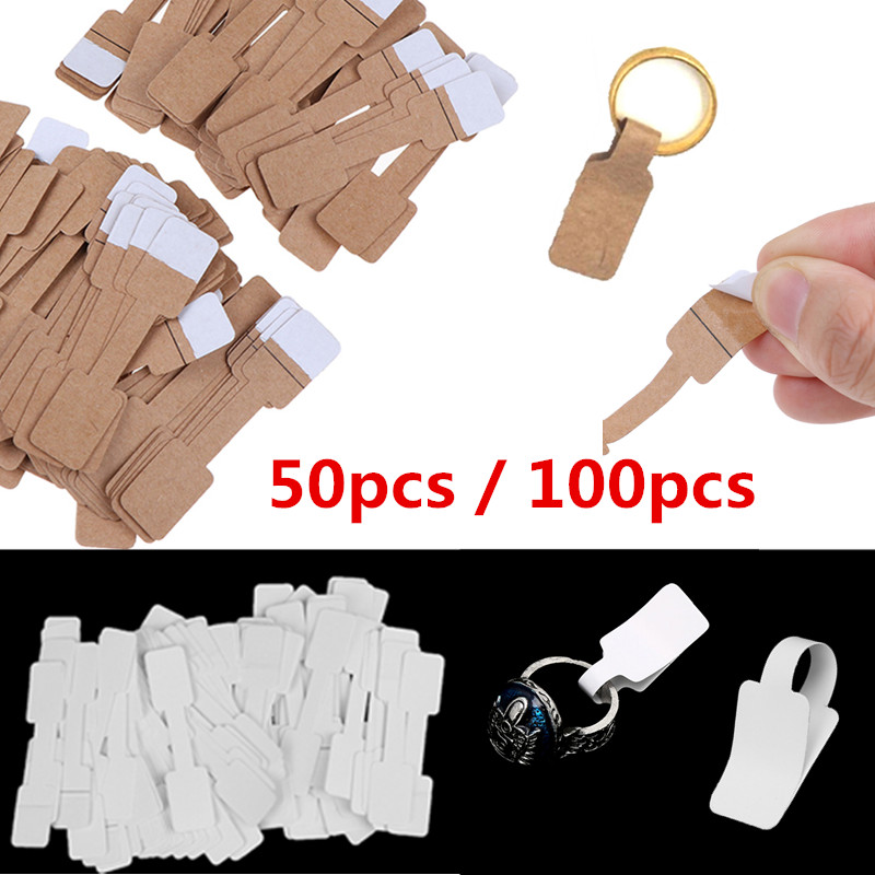 HOT! Necklace Ring Labels Quadrate Blank Price Tags Paper Stickers Paper Jewelry Display Card Labels Hangtags 50pcs / 100Pcs