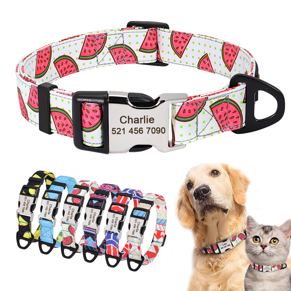 Nylon Print Dog Collar Personalized Pet Cat ID Collars Free Engraving Tag Nameplate for Small Medium Large Dogs Cats Pitbull Pug