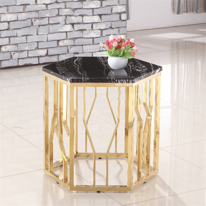 45741 Stainless Steel Tea Table Marble Tabletop Sofa Side Table Hotel Small Round Coffee Table Simple Modern Bedside Night Table