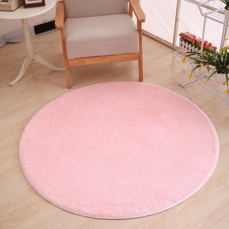 120 X 120cm Round Plush Carpet Soft Living Room Bedroom Rug Floor Mat Home Decor Short-haired Silky Plush Carpets Warm Mats