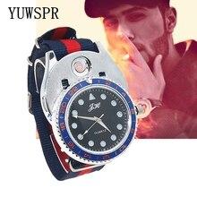 цена на Men watch Lighter Watches quartz Military USB Charging sports Casual Wristwatches Windproof Cigarette Lighter clock men ZH320